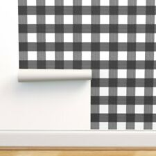 Peel-and-Stick Removable Wallpaper Black and White, Buffalo Plaid, Medium Scale,
