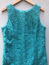 Talbots Dress 16 Petite Lace Sheath Turquoise Blue Womens Sleeveless Cotton XL