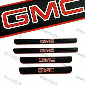 4PCS Black Rubber Car Door Scuff Sill Cover Panel Step Protector For GMC New