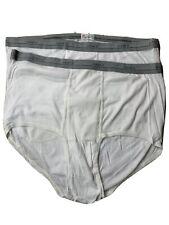 Nos Vtg Hanes men's 3Xl 50-52 White Brief underwear Grey Band (Lot of 2 Pair)