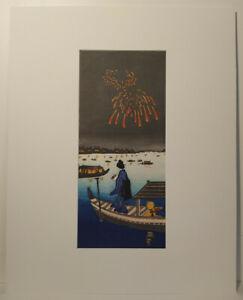 UW»Estampe japonaise -  Hiroshige IV  feu d'artifice  - prête à encadrer 17 A055