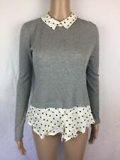 """NEW Women's Maison Jules """"Melbourne"""" Sweater Gray w Faux Under Shirt Size Small"""
