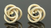 9 Carat Yellow Gold 3 Strand Knot Stud Earrings Butterfly Fastener (80.18.102)