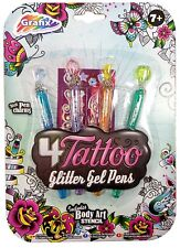 Pack 4 x Tattoo Glitter Gel Pens Temporary Body Art Markers, Stencil And Charms