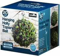 Solar Power Holly Berry Topiary Ball Garden Outdoor Decoration 28cm Hanging Bal