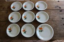 Lote de 8 platos hondos + vintage - Flores naranja - Porcelana del siglo Centro