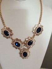$$95 Charter Club Gold-tone Blue & Baguette Crystal Statement Necklace MH 37