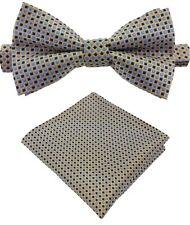 Fliege + Einstecktuch Schleife Querbinder Binder de Luxe 530 silber Krawatten