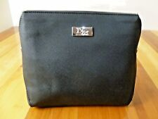 CHRISTIAN DIOR BLACK WITH SILVER ACCENTS , TRAVEL POUCH ZIPPERED MAKEUP BAG.