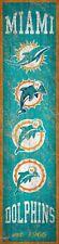 "Miami Dolphins Heritage Banner Retro Logo Wood Sign 6"" x 24"" Wall Decor Est 1966"