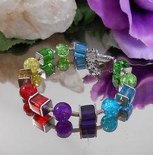 Design Würfel Armband Multicolor Regenbogen Glas Würfel + Crackle Glas Perlen