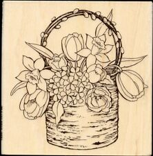 STAMPENDOUS rubber stamp BIRCH BOUQUET wood mounted, Spring Flowers, Easter