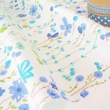 Garten Trail - blau Moderne Blumenmuster auf weiß Baumwolle Stoff pro m