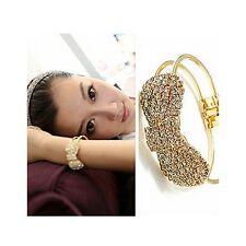 Stylish Gold Alloy, Diamante Crystal Bling Bow Hinged Bangle (587)
