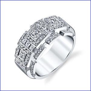 Incredible Large 2.35ct Mens Diamond 18K White Gold Designer Band
