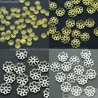 100Pcs Silver Plated Over Copper 6mm 8mm 10mm Curved Beads Caps Flower Findings