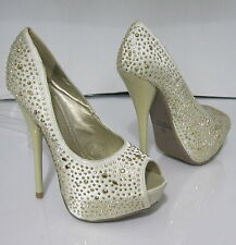 "new ladies  Beige/Gold Star 5.5"" High Heel 1.5"" Hidden Platform Shoes Size 5.5"