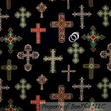 BonEful Fabric FQ Cotton Quilt Black Gold CROSS Xmas Christ Gothic God Religious