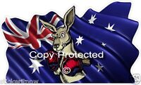 Australian Flag Boxing Kangaroo Bumper Sticker 100mm Decal Car Caravan Ute Ipad