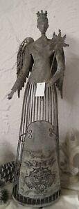 Candle Holder Lantern Angel Decorative Figurine Metal Christmas Shabby 27 5/8in
