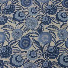 "Richloom Havana Atlantic Blue White Floral Multiuse Linen Fabric By Yard 54""W"