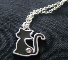 Black enamel cat with rhinestone pendant and chain