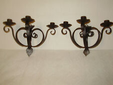 Antique 1920'S Black Wrought Iron Spanish 3 Scone Wall-Candle Holder Set