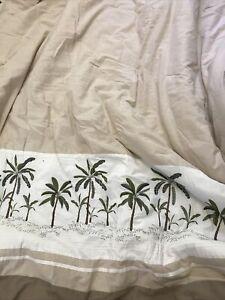 Croscill Queen Comforter Set FIJI w 2 Standard Shams Bedskirt Palm Tree Beige