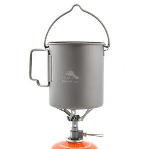 TOAKS 750ml Titanium Pot and BRS-3000T Titanium Gas Stove Solo Camping Cookset