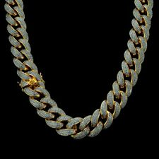 18K Gold Plated Cuban Chain Link 3 Row Out ICED Lab Diamond 18mm Miami Necklace