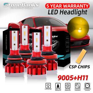 4PCS Combo 9005+H11 Yellow 3000K CSP LED Headlight Bulbs 100W High Low Beam Kit