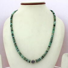 NATURAL EMERALD GEMSTONE 925 SOLID STERLING SILVER 5 MM BEADED NECKLACE 22 GRAMS
