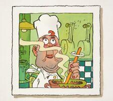 Dessin original illustration de Rémi MALINGREY Malingrëy gouache cuisinier