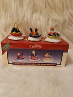 Lemax Dickensvale 1994 Porcelain Saucers Sledding In The Snow Set of 3