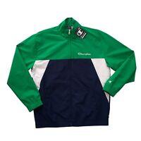 CHAMPION Men's Green / Navy Full Zip Lightweight Windbreaker Jacket Size L NEW