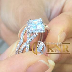 14K WHITE GOLD 1.80CT PRINCESS CUT MOISSANITE RING AND NATURAL DIAMONDS HALO