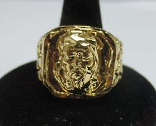 SIZE 12 14 KT GOLD PLATED SQUARED OFF RELIGIOUS  JESUS FACE NUGGET BLING RING-J2