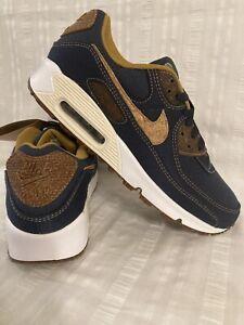 Nike Air Max 90 SE Cork Denim Canvas Shoes DD0385 400 Obsidian Blue Wheat Sz 11