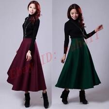 Chic Mujer Invierno Vintage señoras faldas de expansión delgado Falda Larga Estilo Corea