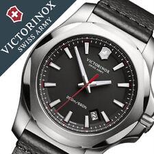NEW Victorinox Swiss Army INOX Black Leather Strap Watch 241737