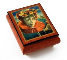"""Festive Painted Ercolano Music Box Of A Carnival / Venetian Mask Titled """"Memorie"""