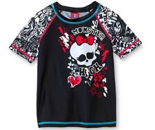 Monster High RASHGUARD Swim Shirt Top Girl 10/12 NeW UPF 50 SKULL Rash Guard NWT