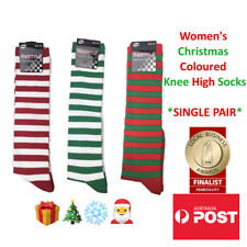 eda45601066 Women s Striped Christmas Coloured Knee High Socks SINGLE PAIR