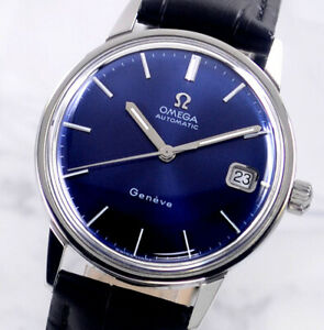 VINTAGE OMEGA GENEVE AUTO CAL565 DATE BLUE DIAL MEN'S WATCH