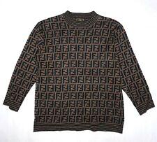 FENDI sweater brown black wool women ladies jumper zucca monogram S M