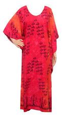 PLUS SIZE TRIBAL FISH PRINT KAFTAN MAXI DRESS RED ORANGE 18 20 22 24 26 28 30 32