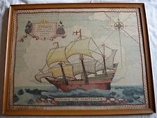 Antique Woolie naval trench art, framed Plymouth, Mayflower ship tapestry