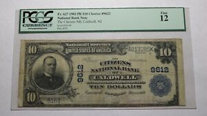 $10 1902 Caldwell New Jersey NJ National Currency Bank Note Bill #9612 FINE PCGS