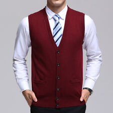 Men Warm Sweater Knitted Cardigan Vest V Neck Sleeveless Button Tops Knitwear