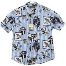 NWT Clearwater Outfitters Mens Shirt Size M Button Down USA Flag Patriotic Blue